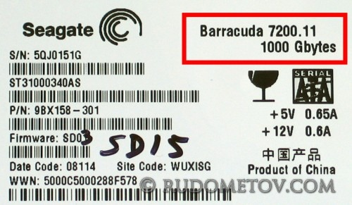 Barracuda 7200.11 1000 Gbyte label