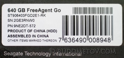 FreeAgent Go 640GB Label